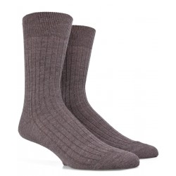 Gerippte Socken aus Wolle - Maulwurfsgrau