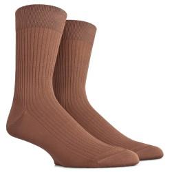 Gerippte Socken aus merzerisierter Baumwolle - Hellbraun