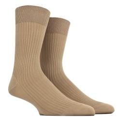 Dunkel Beige gerippte Socken aus merzerisierter Baumwolle