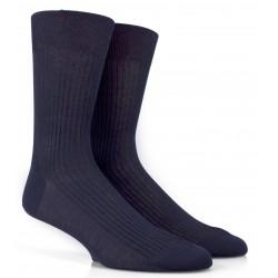 Blaue gerippte Socken aus merzerisierter Baumwolle
