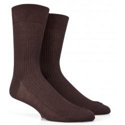Braune gerippte Socken aus merzerisierter Baumwolle