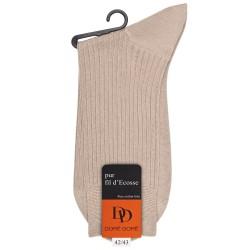 Beige gerippte Socken aus merzerisierter Baumwolle