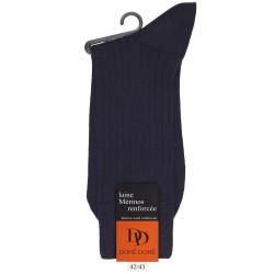 Gerippte Socken aus Wolle - Dunkelblau
