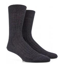 Gerippte Socken aus Wolle - Braun-grau